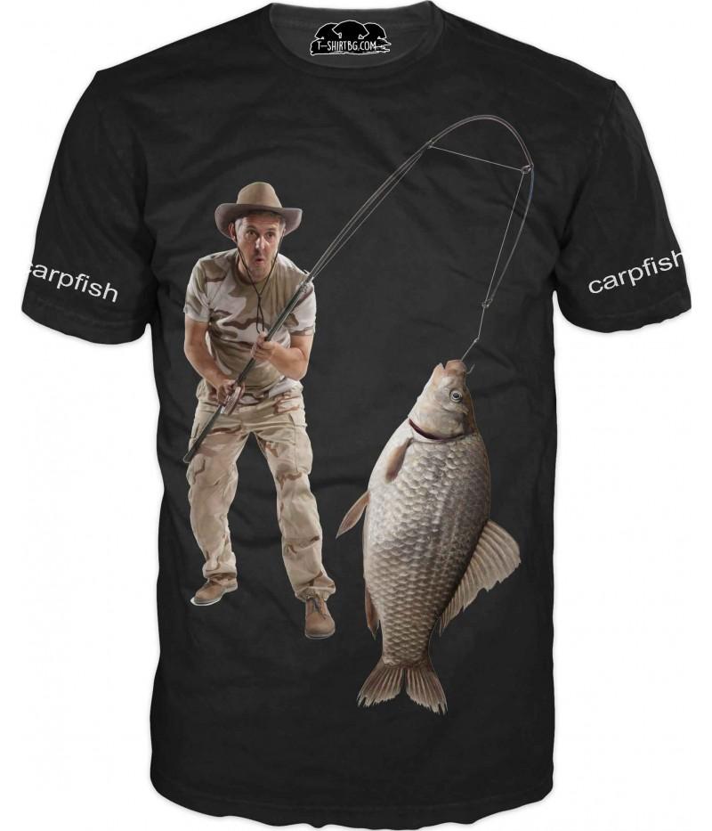 Риболовна тениска с шаран - черна