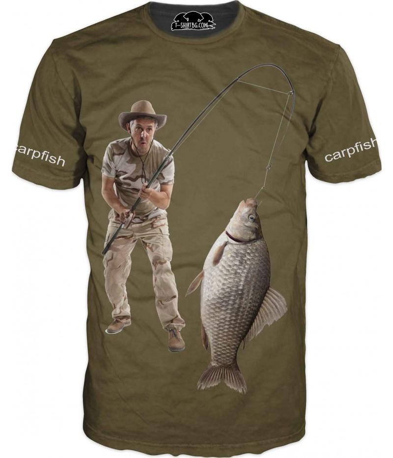 Риболовна тениска с шаран - зелена