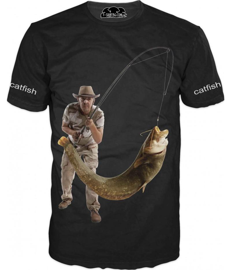 Риболовна тениска със сом - черна