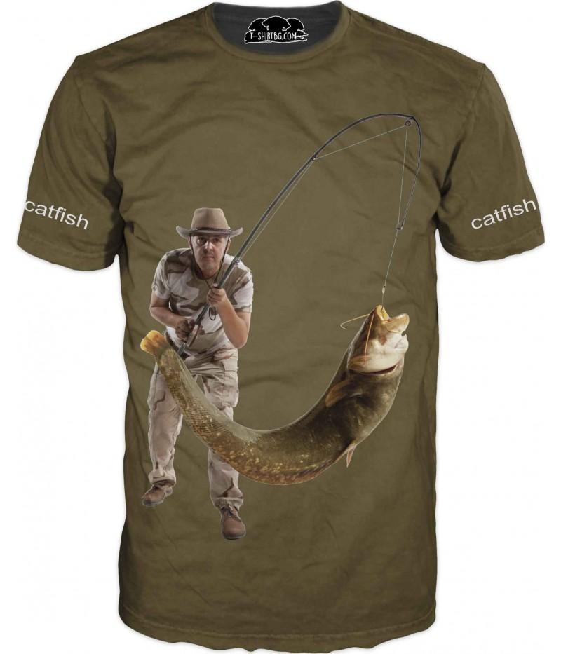 Риболовна тениска със сом - зелена