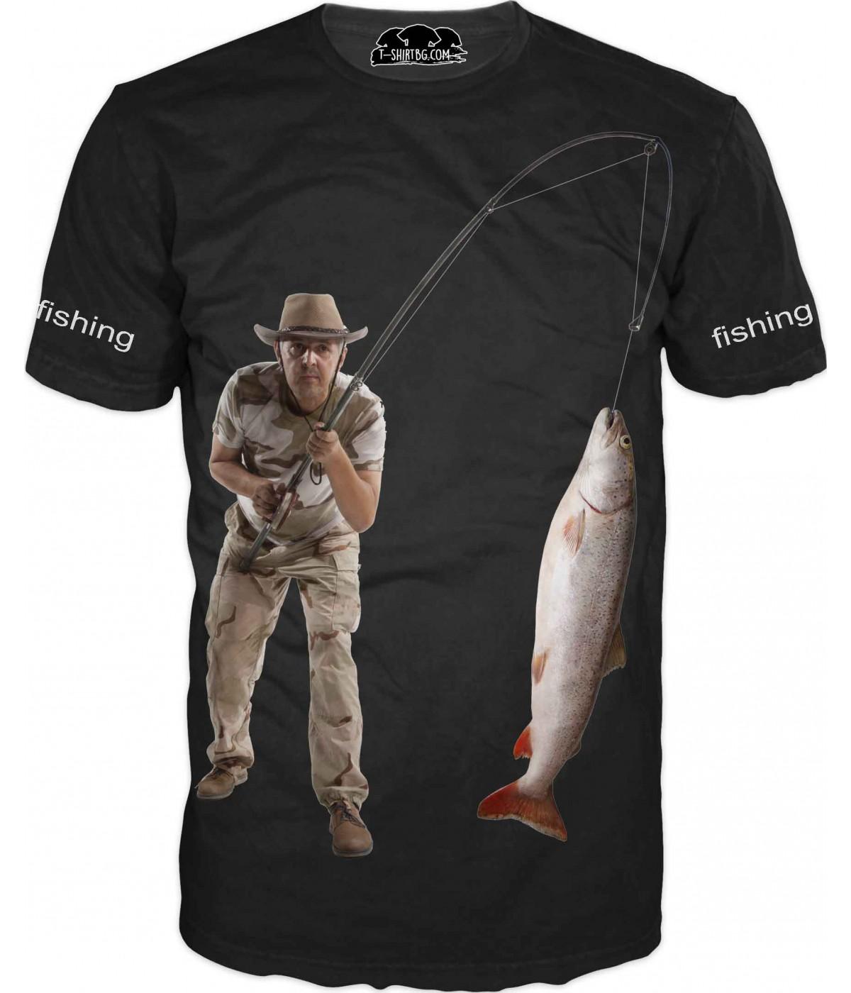 Риболовна тениска с рибар - черна