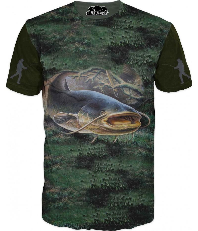 Риболовна тениска със Сом на дъно