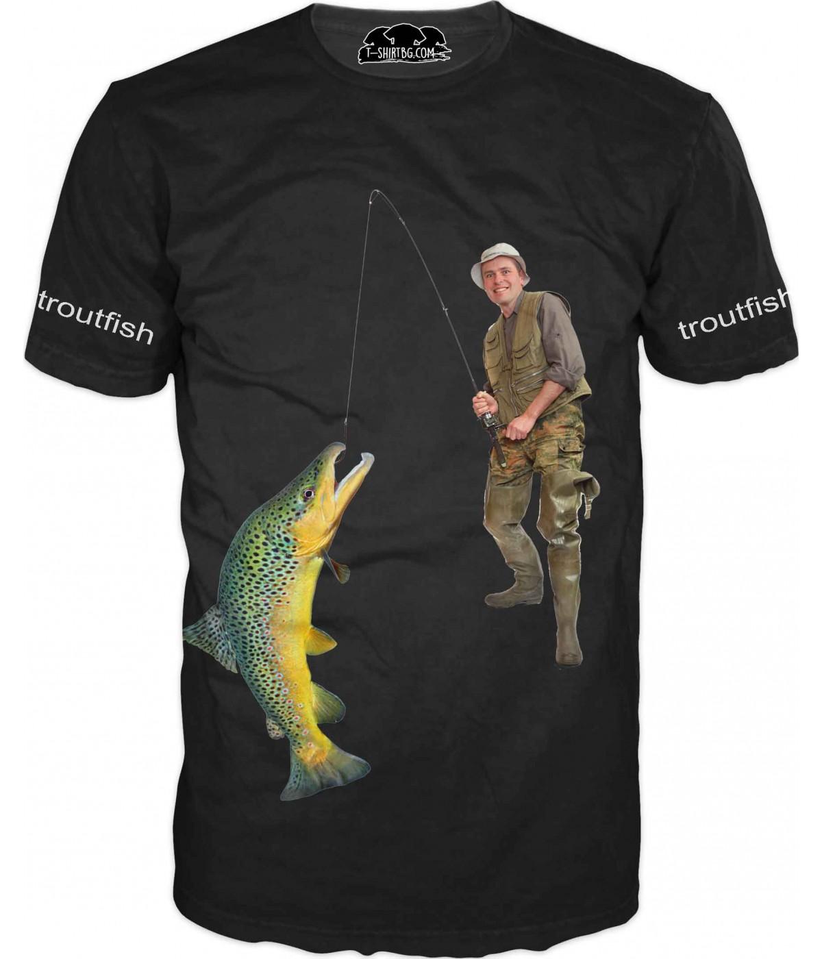 Риболовна тениска с рибар - лов на пъстърва