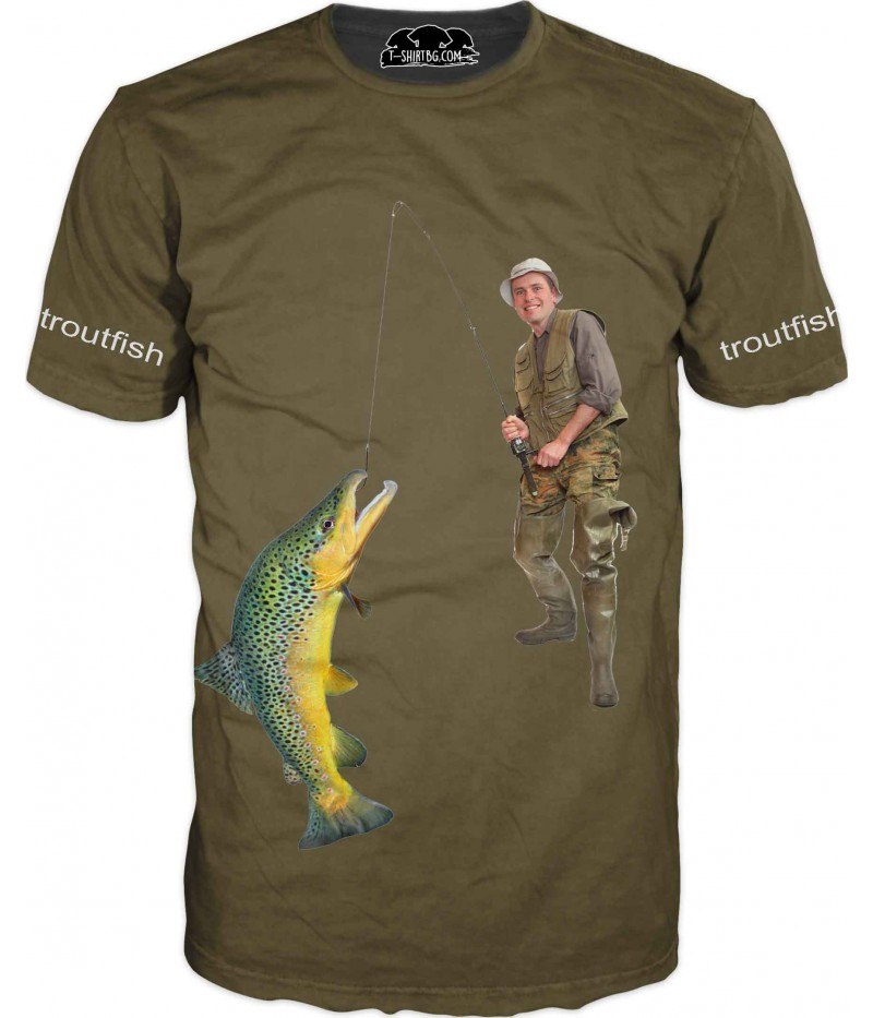 Риболовна зелена тениска с рибар - лов на пъстърва