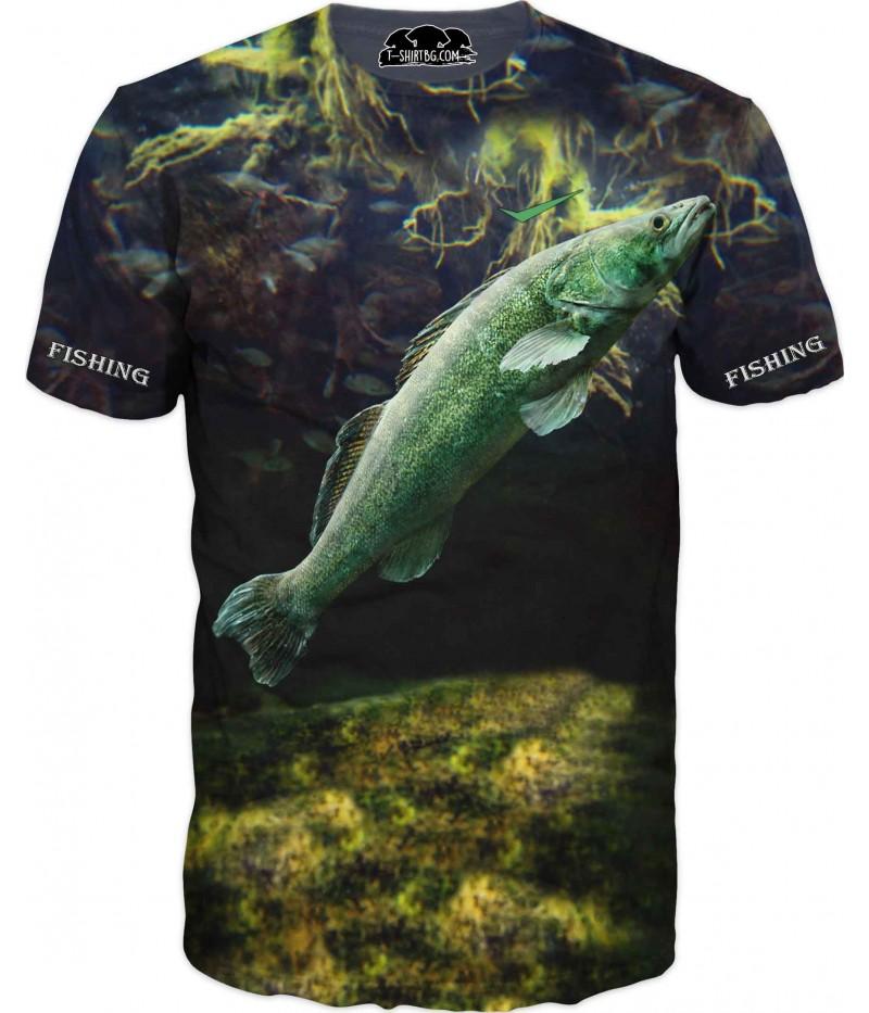 Риболовна тениска с риба във водорасли