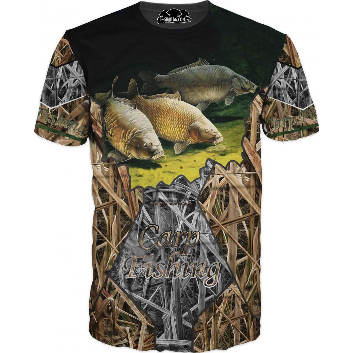 Риболовна тениска с три шарана в тръстика