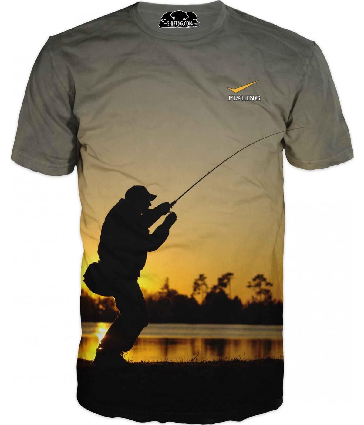 Риболовна тениска - улов на залез слънце