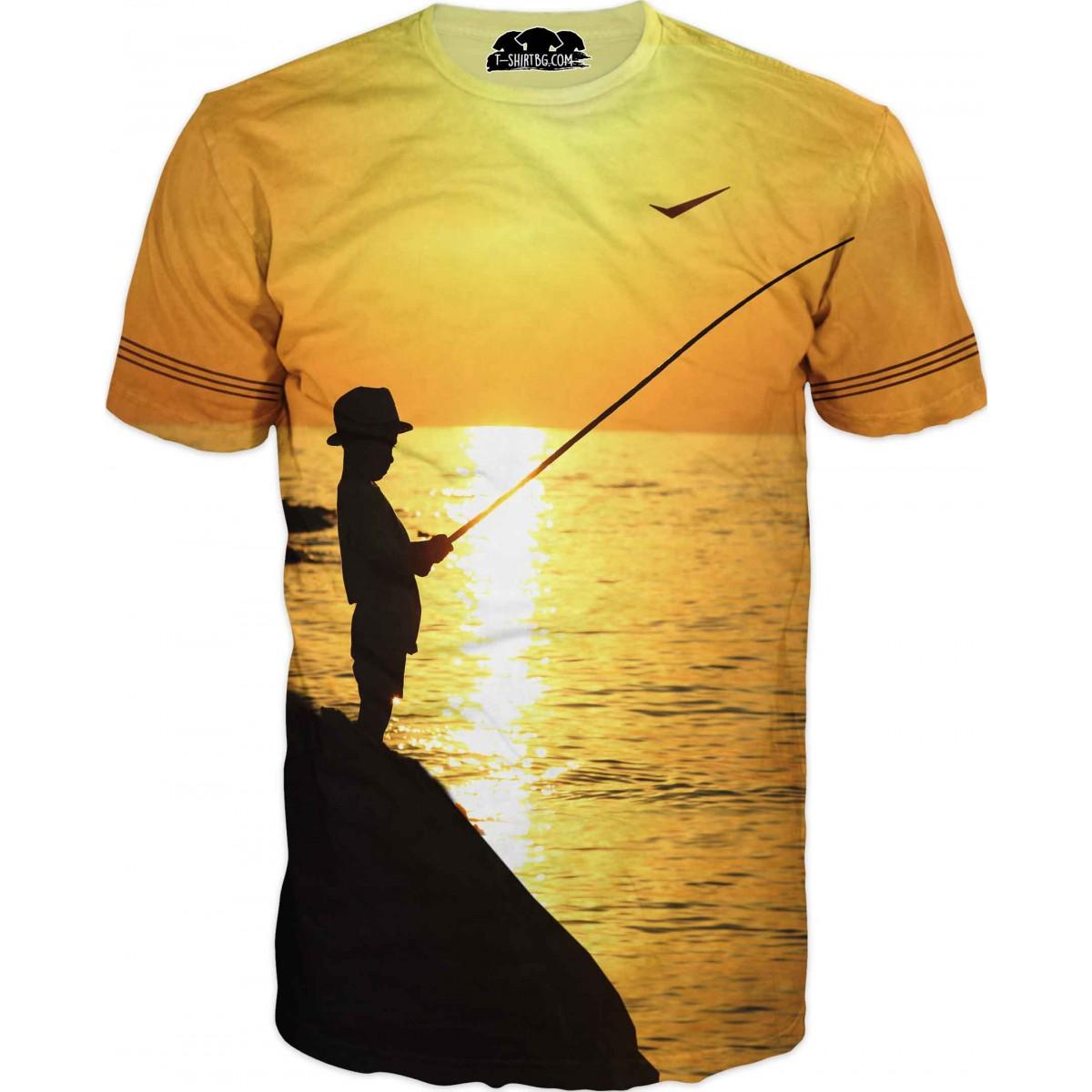 Риболовна тениска на дете с въдица