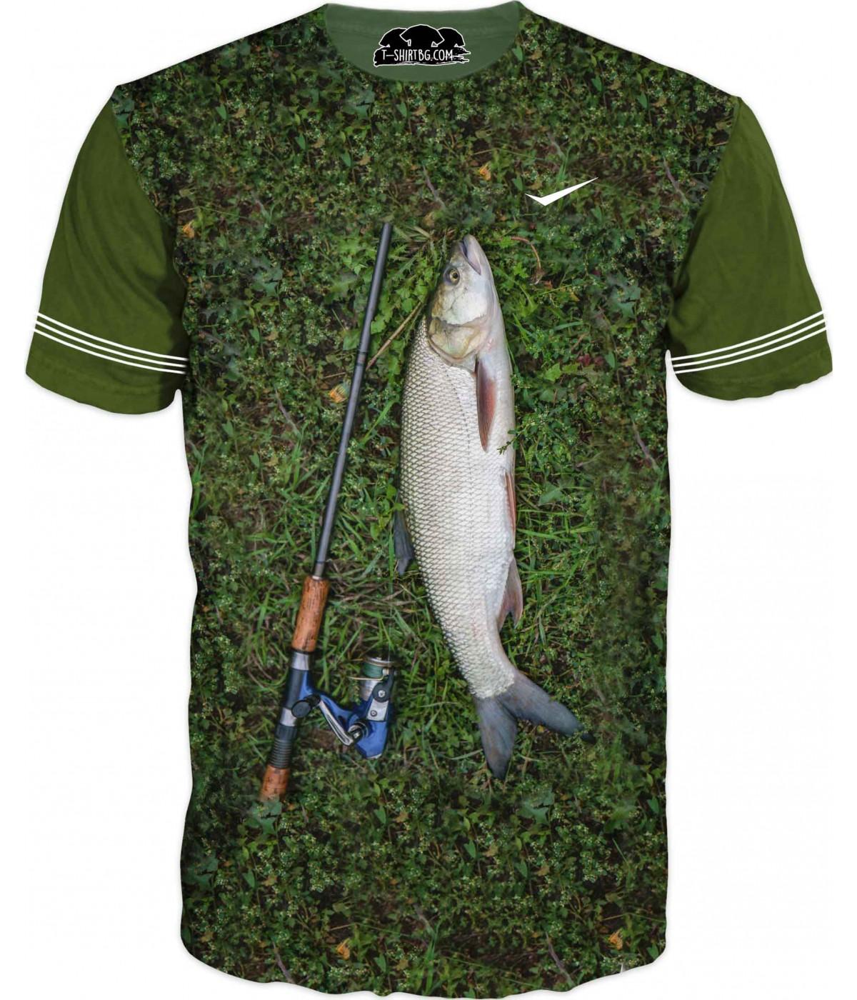 Риболовна тениска с уловена риба