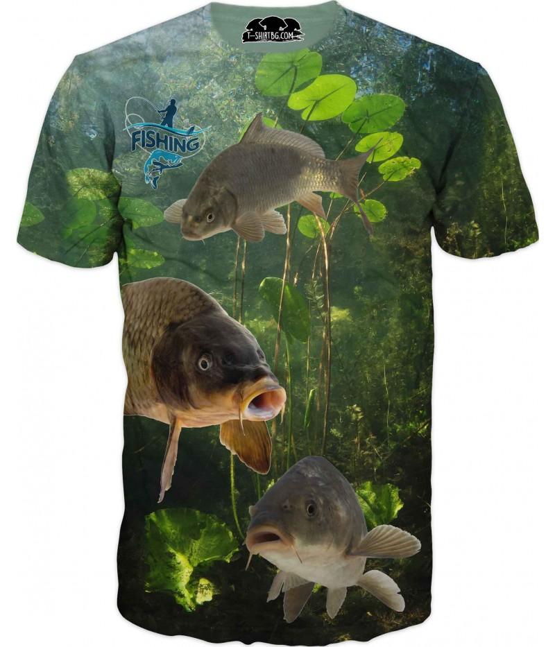 Риболовна тениска - три шарана