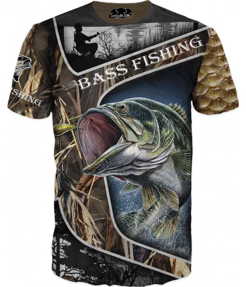 Риболовна тениска с костур в камуфлаж