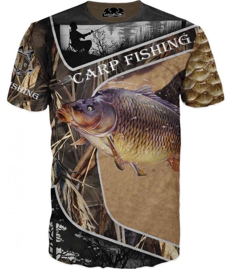 Риболовна тениска с изображение на шаран в камуфлаж