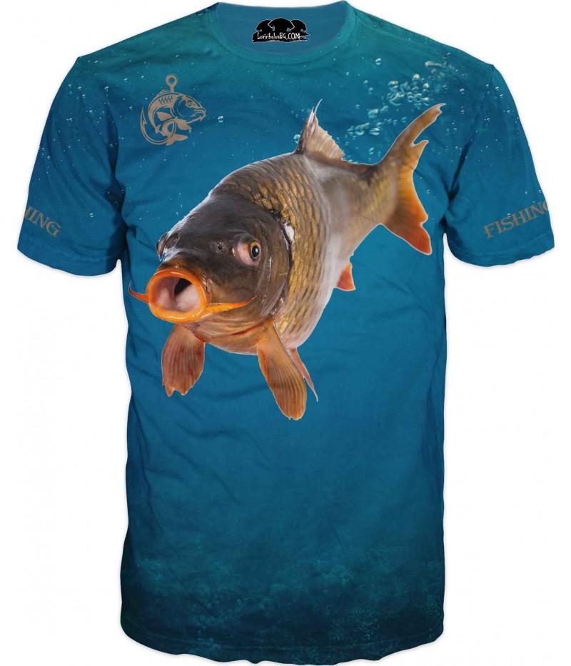 Риболовна тениска - шаран във вода