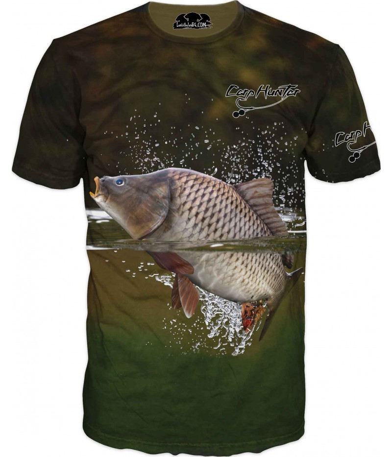 Риболовна тениска с Шаран във вода