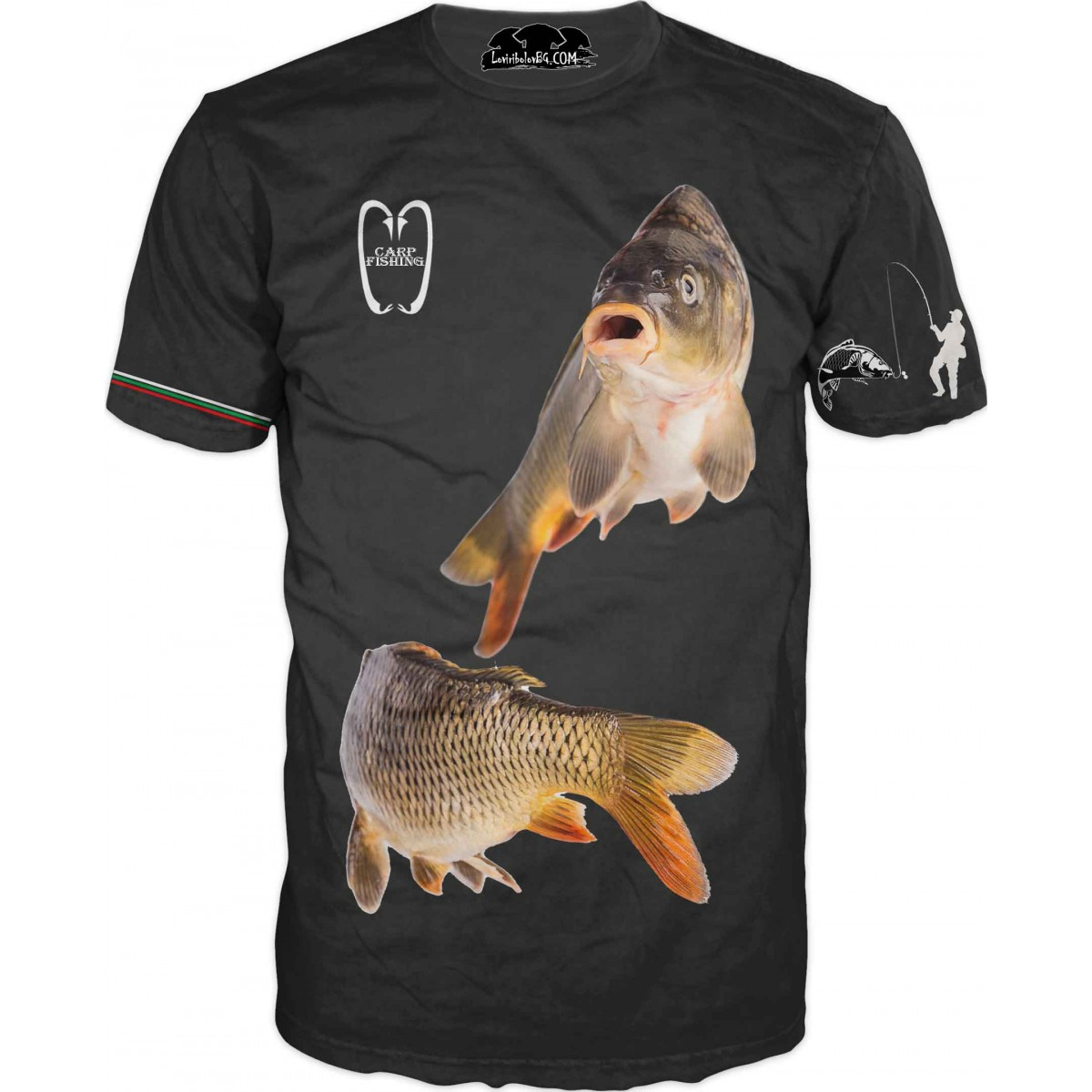 Страхотна риболовна тениска с две риби - черна