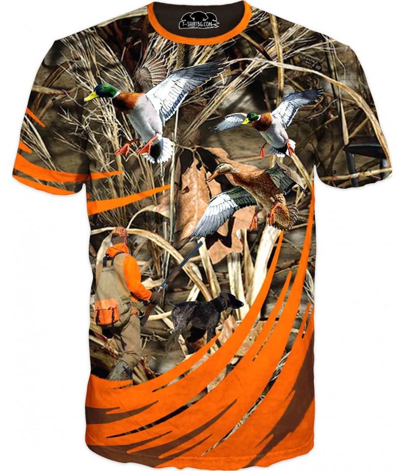 Ловна тениска - ловец и диви патици