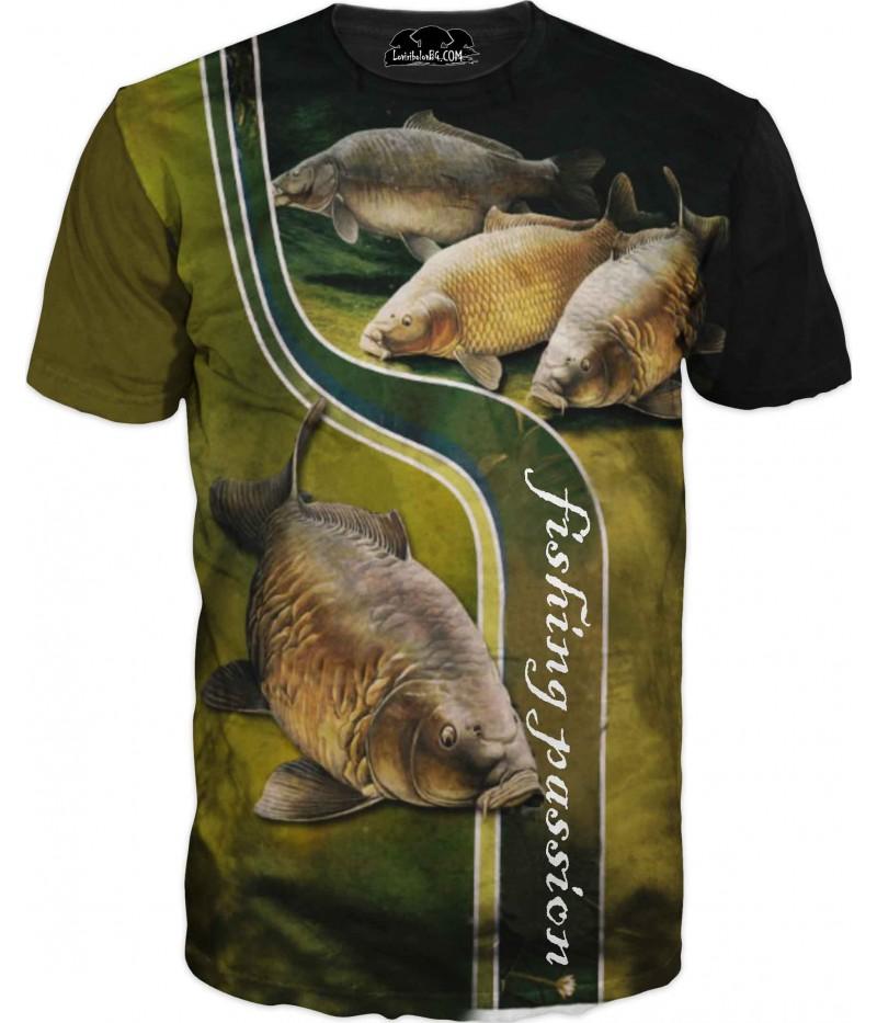Риболовна тениска и надпис - Риболовна страст