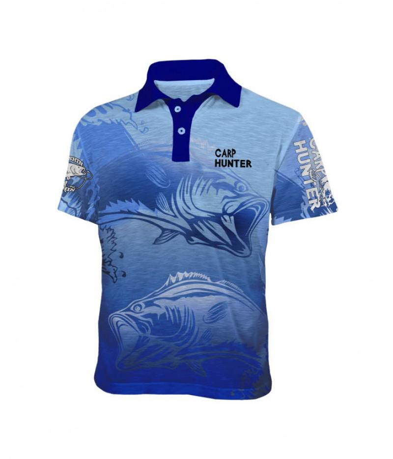 Mъжка риболовна тениска с яка Carp Blue