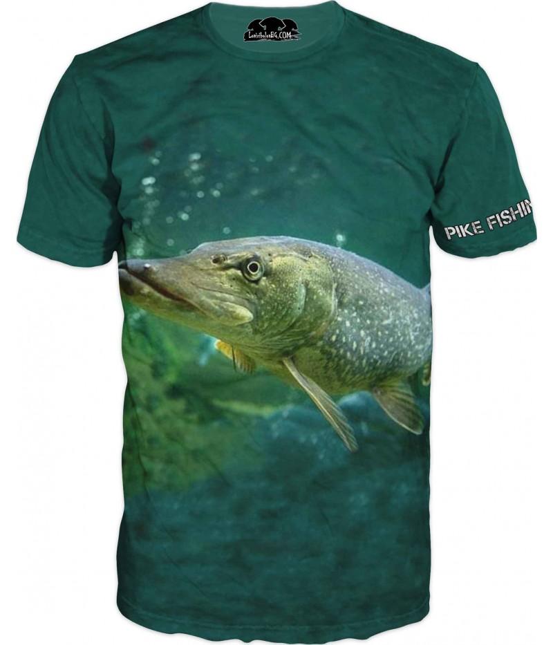 Риболовна тениска с Щука в зелено