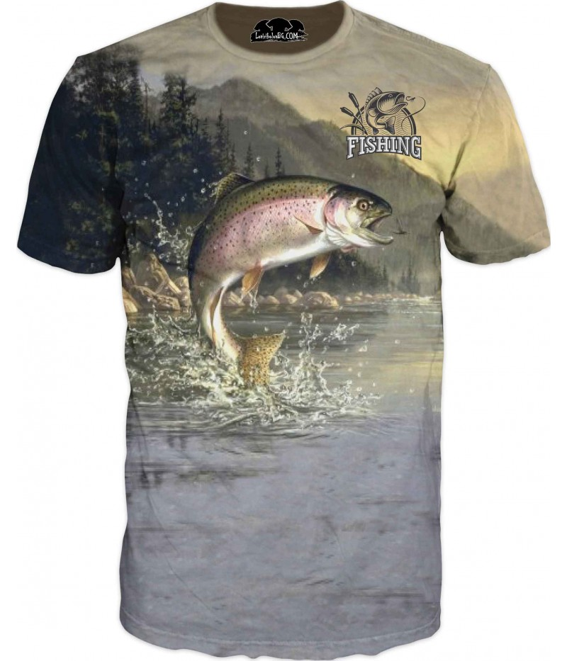 Риболовна тениска с лов на пъстърва