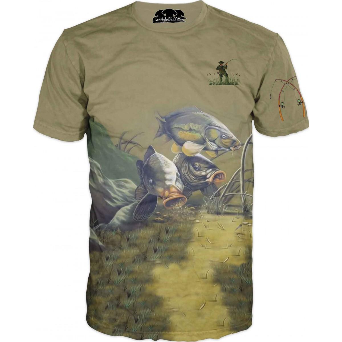 Риболовна тениска - изрисувани риби
