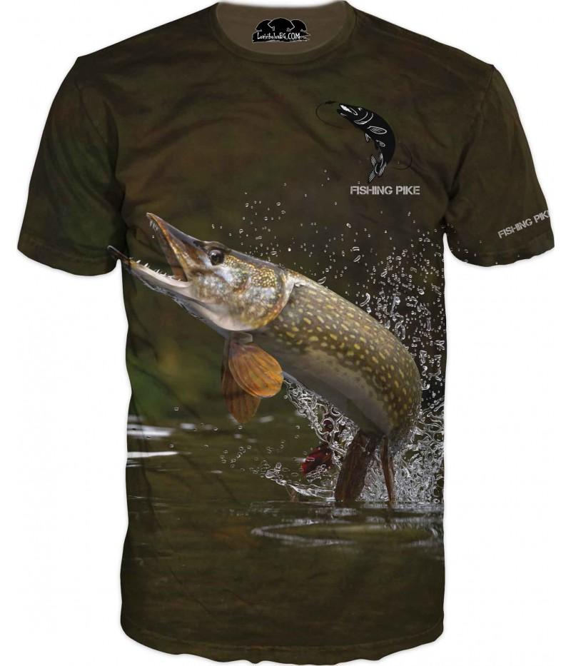 Риболовна тениска с Щука и лого