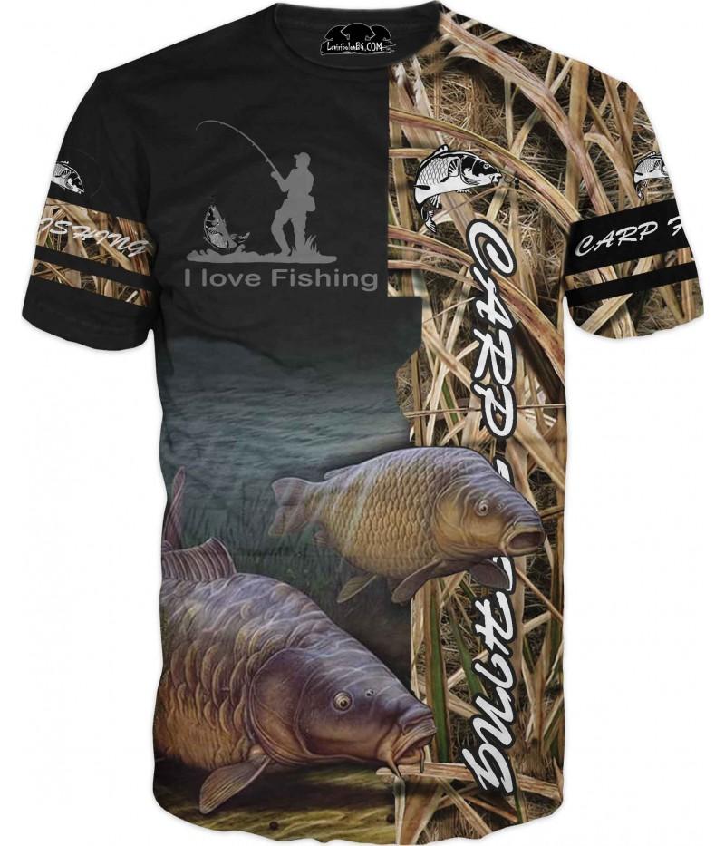 Страхотна риболовна тениска с риболовни лога