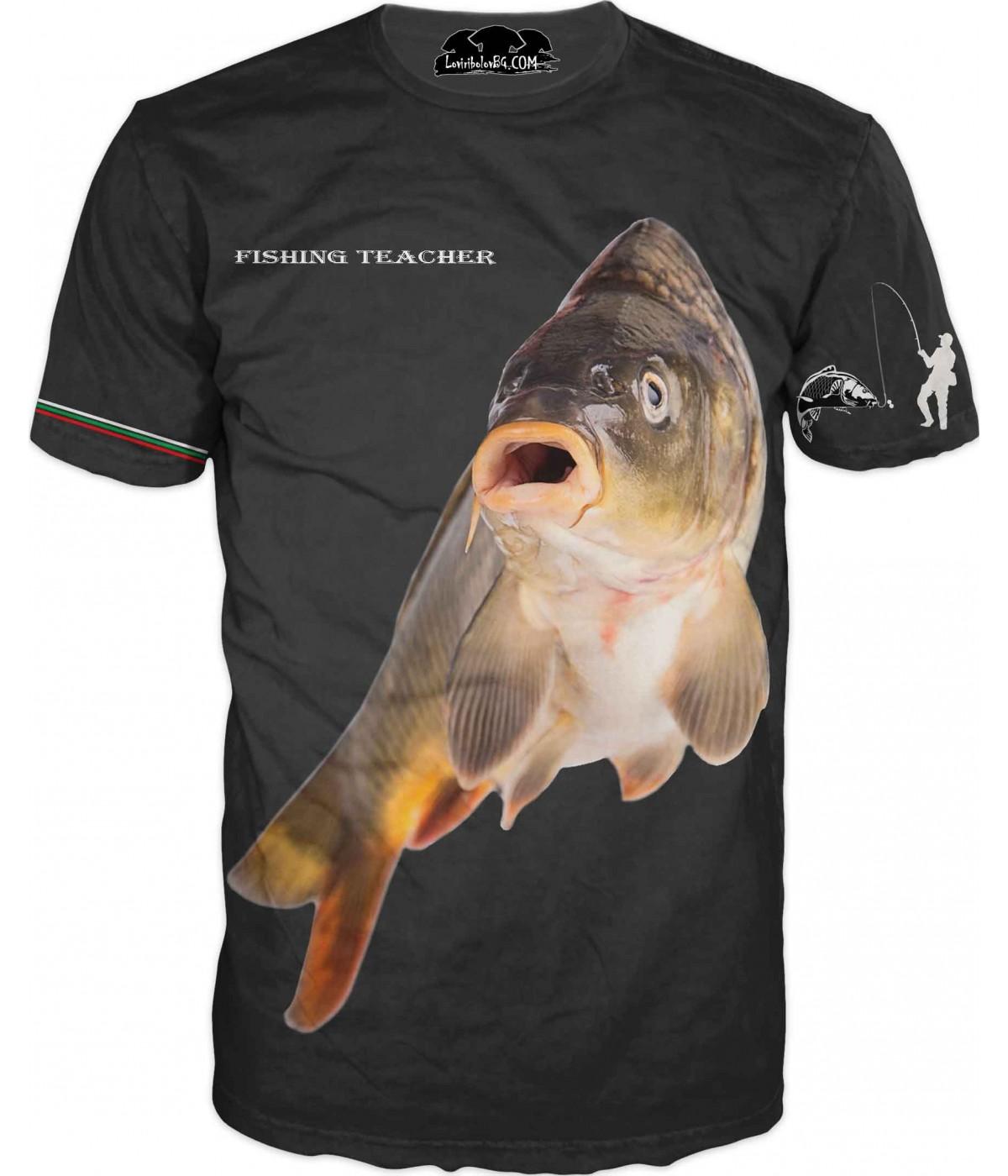 Страхотна риболовна тениска - черна