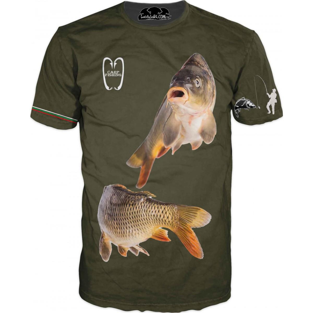 Страхотна риболовна тениска с две риби - зелена