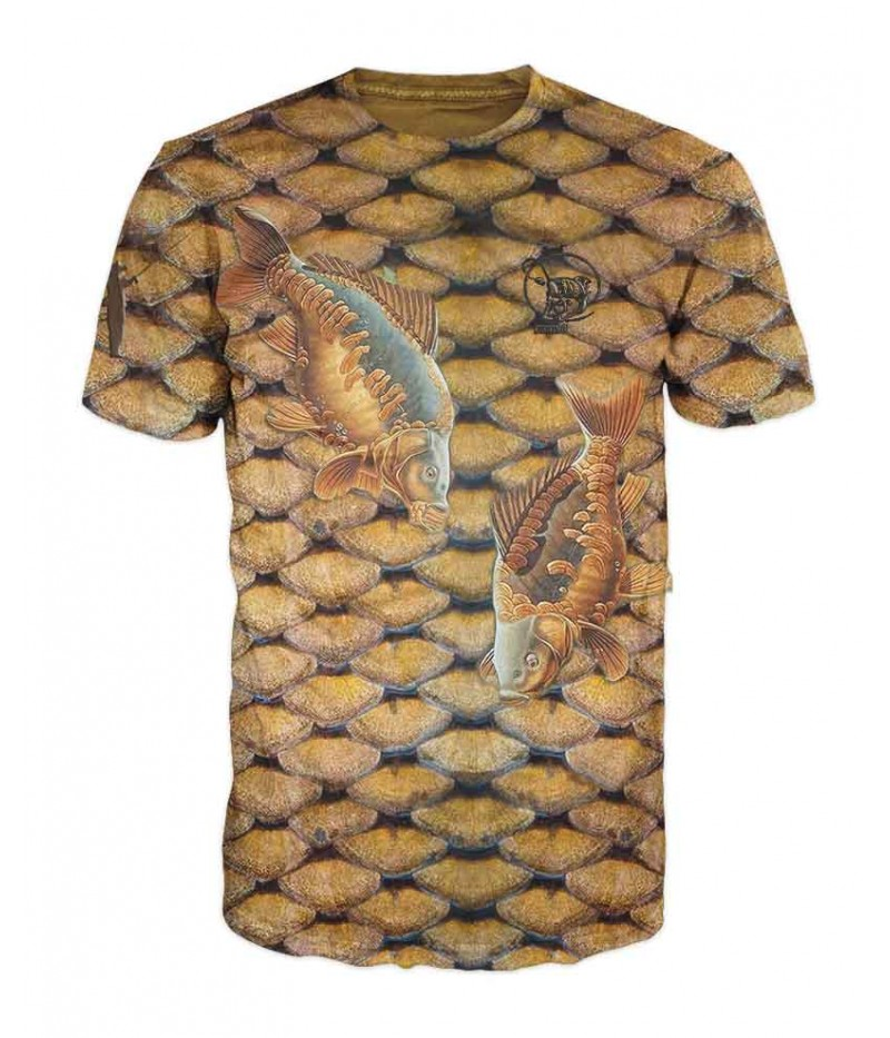 Риболовна тениска  с шаран върху люспи на шаран-само за рибари, търсещи златната рибка, която носи късмет