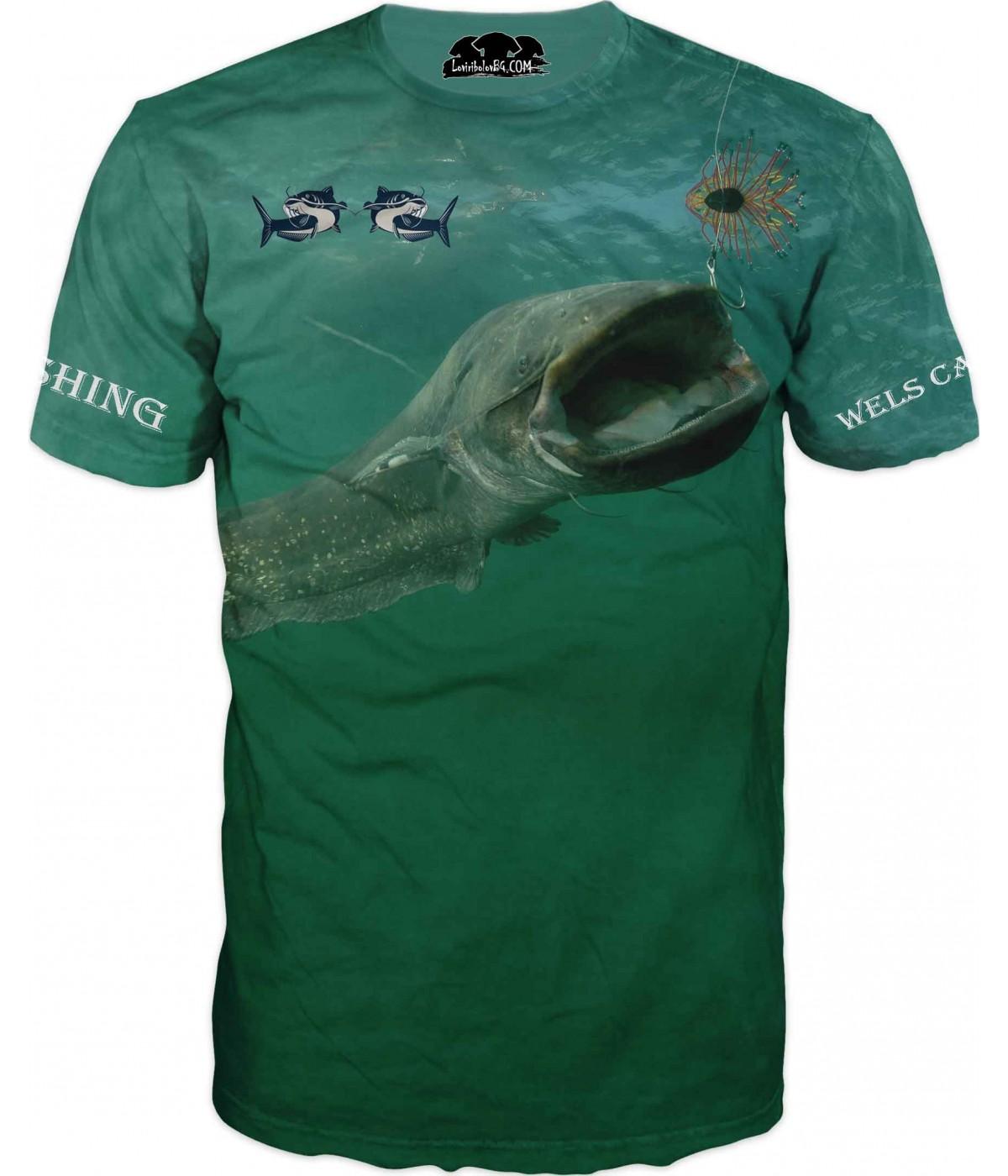 Риболовна тениска със сом и лого