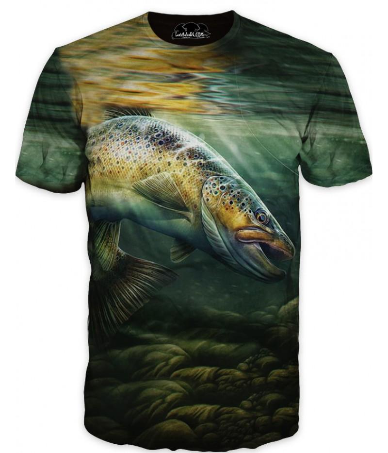 Mъжка риболовна тениска с изображение на изрисувана риба