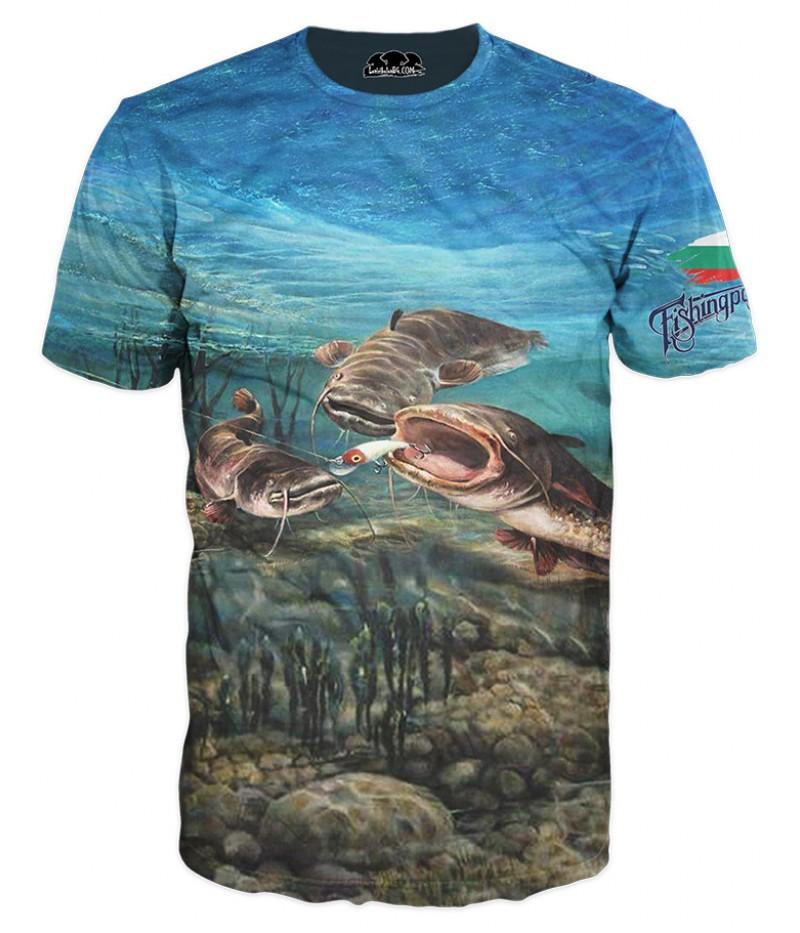 Mъжка риболовна тениска с три сома и БГ знаме
