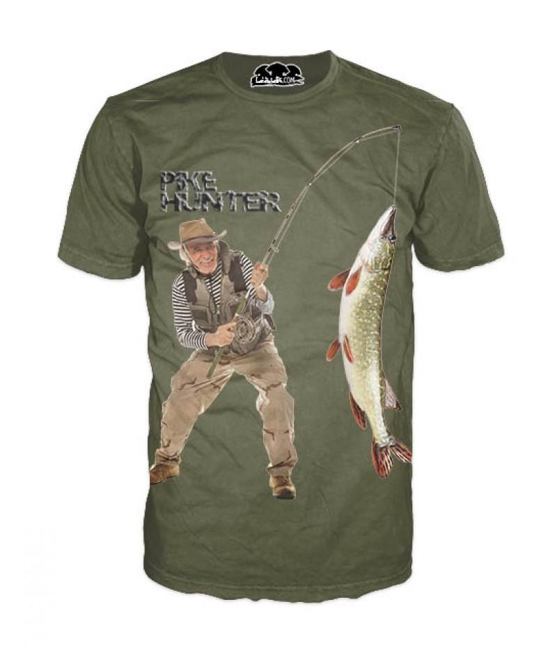 Mъжка риболовна тениска с рибар на щука