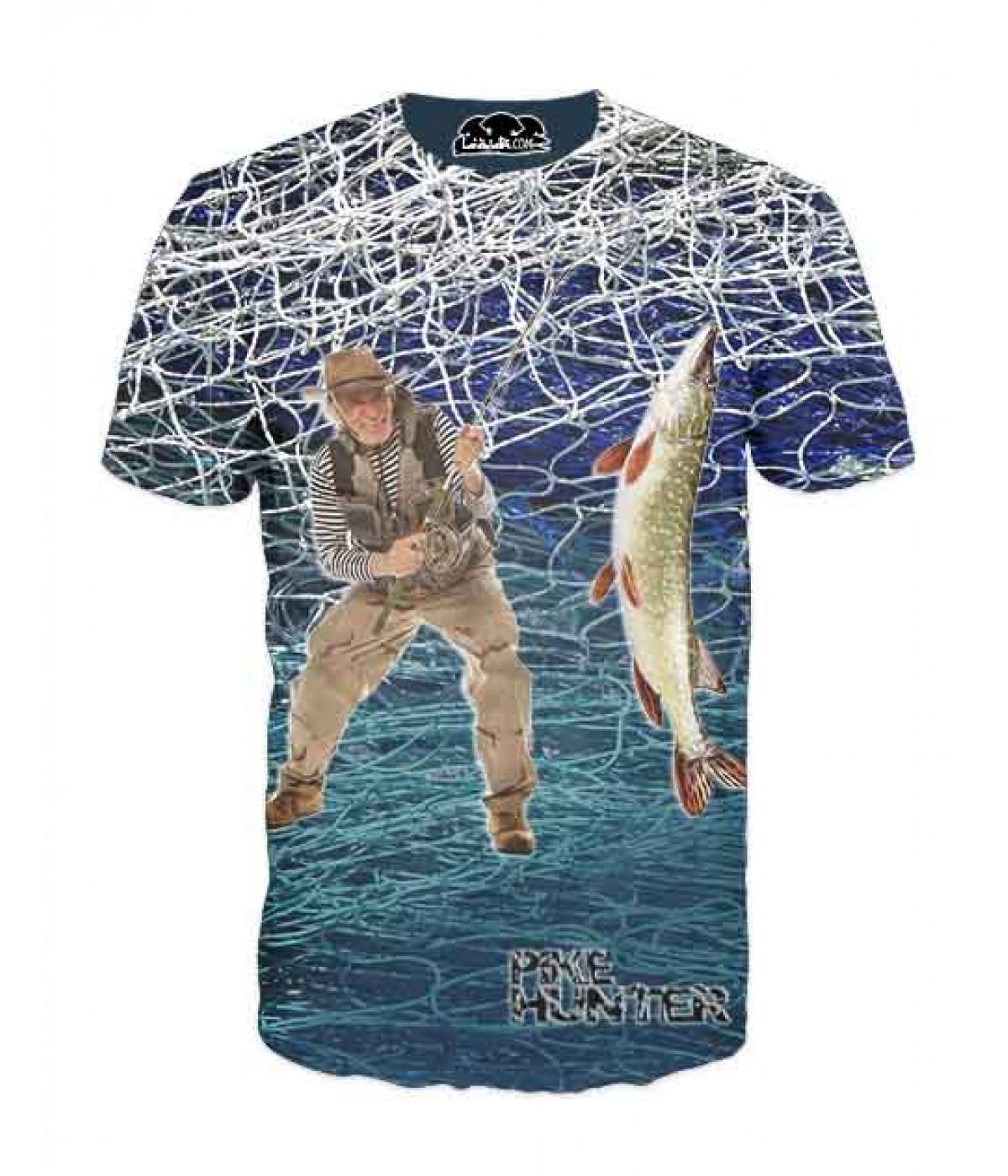 Mъжка риболовна тениска с мрежа и рибар на щука