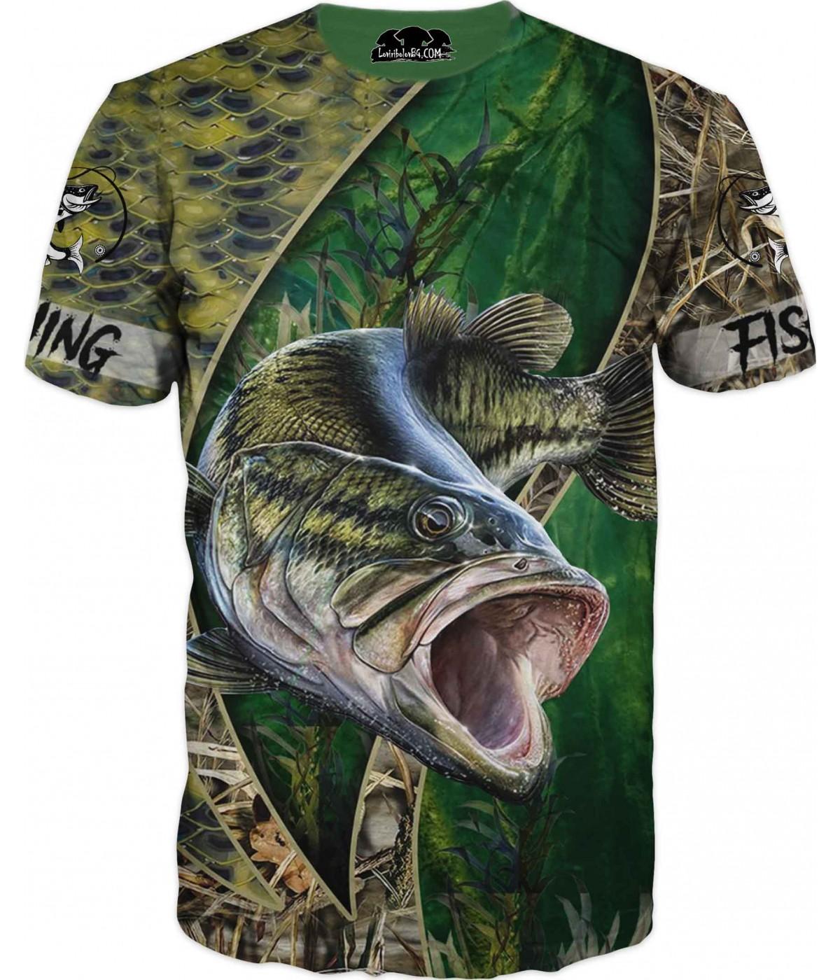 Риболовна тениска - разноцветен камуфлаж