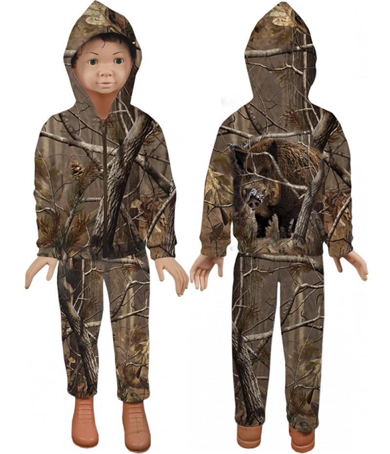 Детски ватиран-памучен екип-клони камуфлаж