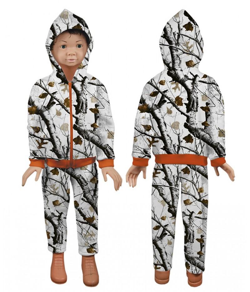 Детски ватиран-памучен екип-снежен камуфлаж