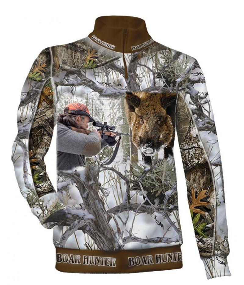 Ватиран екип за лов с къс цип-камуфлаж-Boar Hunter
