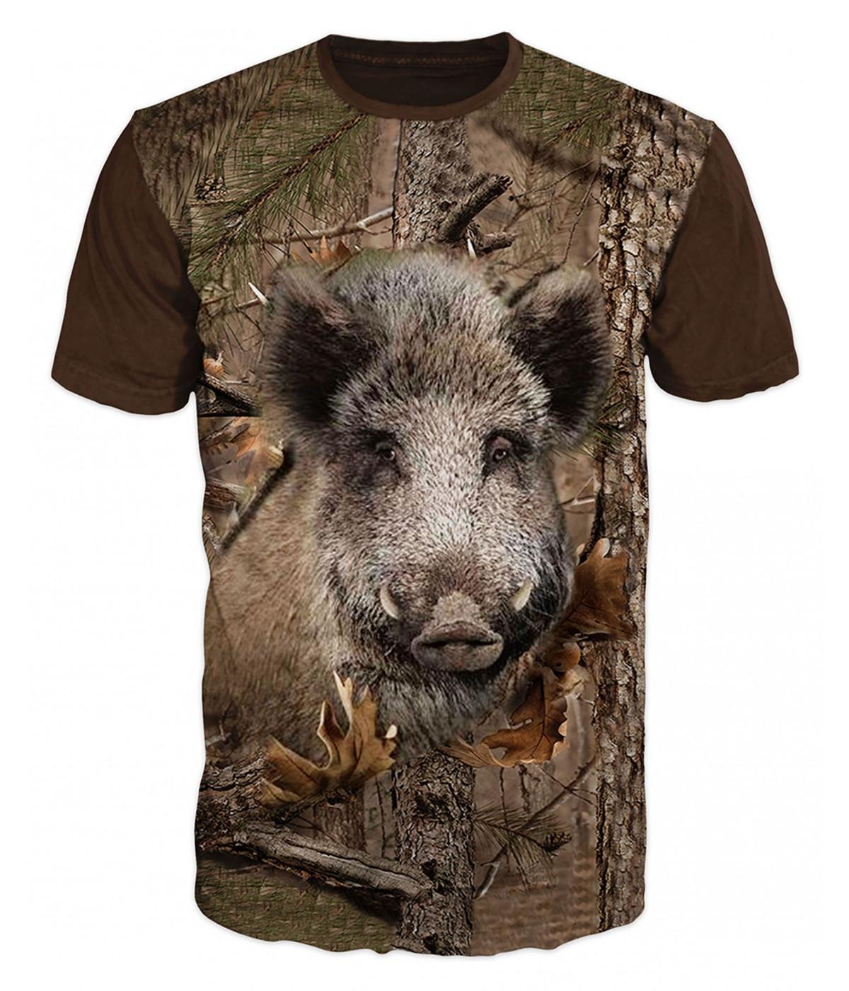 Ловна тениска с диво прасе с клони