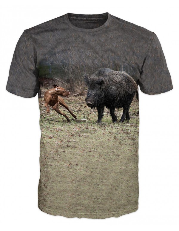 Ловна тениска с глиган и куче