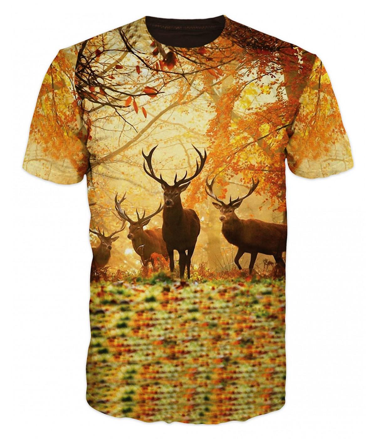 Ловна тениска с елени в гората