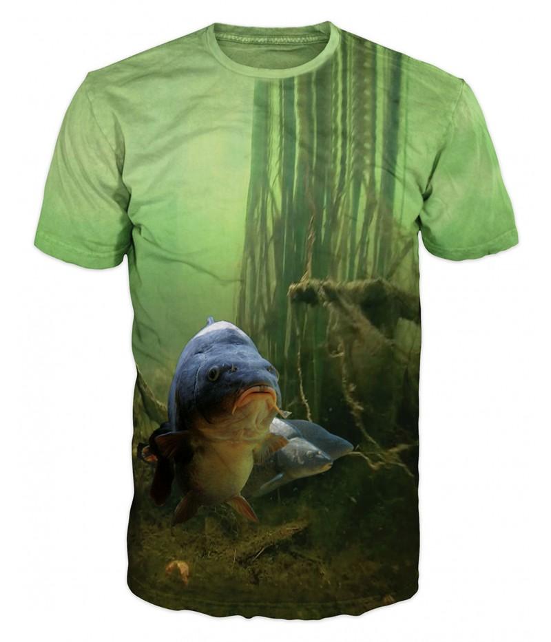 Риболовна тениска с шарани-зелена