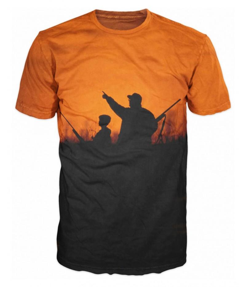 Ловна оранжева тениска с ловец