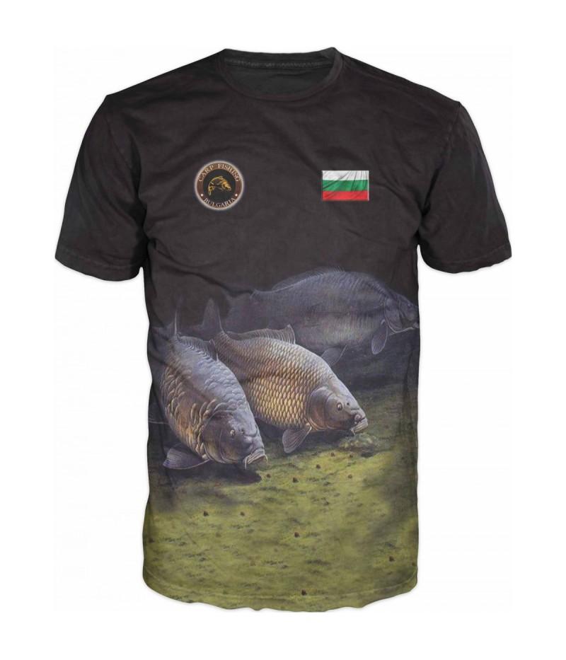 Риболовна тениска с шарани-черна