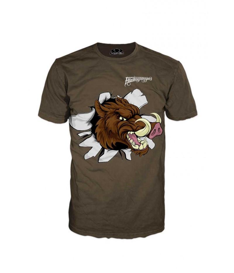 Тениска с изрисуван глиган - ловна страст