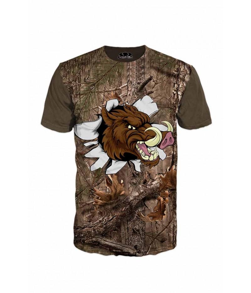 Тениска с изрисуван глиган и камуфлаж