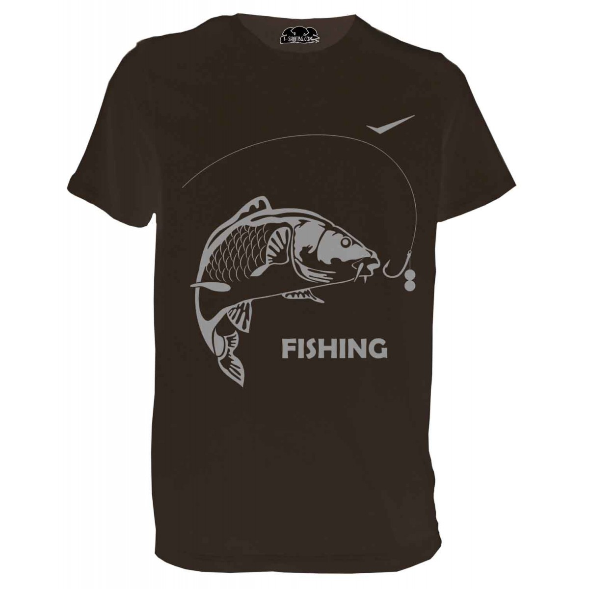 Ловна тениска с риба - кафява