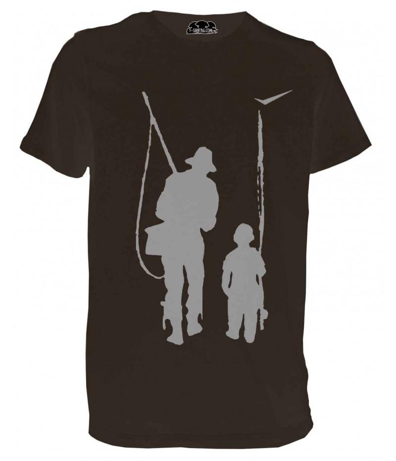 Ловна тениска с ловец и дете - кафява