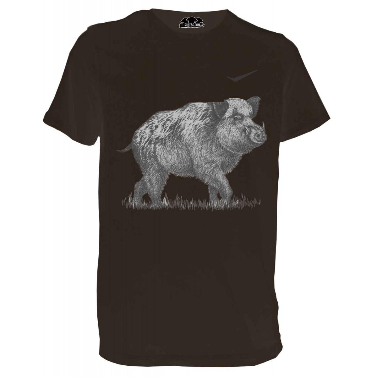 Ловна тениска с прасе - кафява